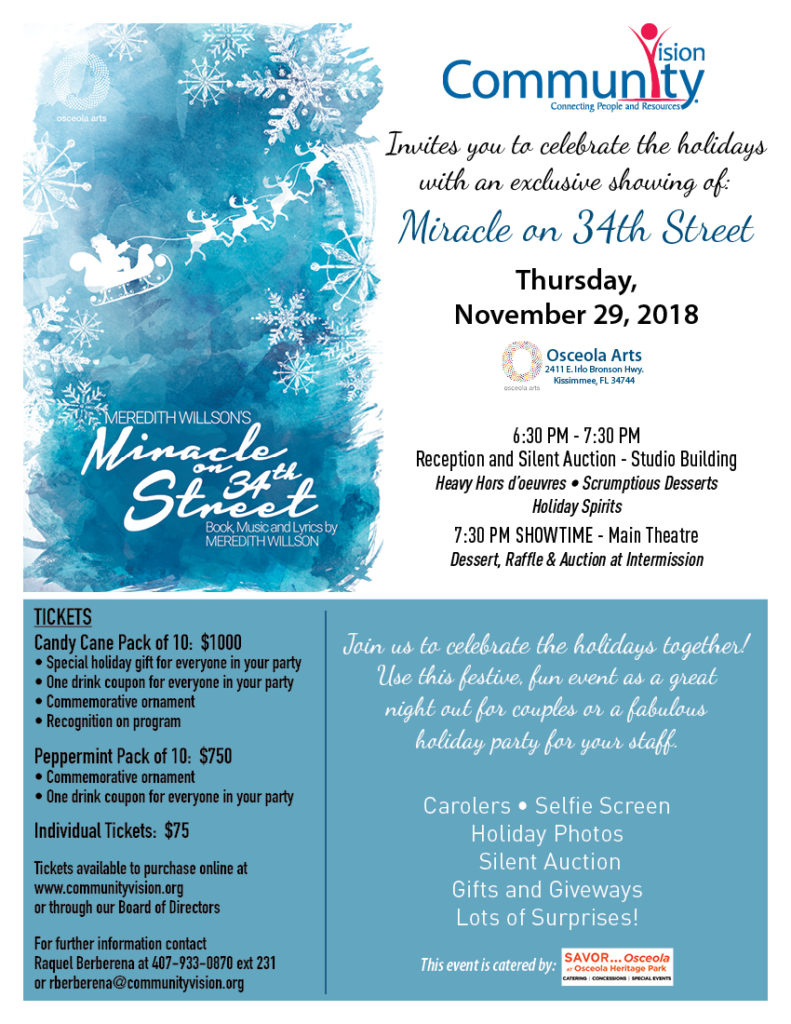 Miracle on 34th Street at Osceola Arts - Community Vision Fundraiser